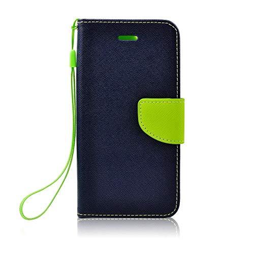 Handy Book Case Hülle für Huawei P20 - Navy blau grün - Handyhülle mit Magnetverschluss, Standfunktion und Kartenfach - Cover Schutzhülle Etui Book Klapp Style -