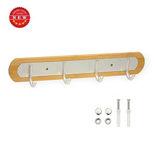 Perchero de gancho, 4 ganchos de aleación de aluminio, ganchos de pared, rieles de madera de bambú, riel para toallas, rieles para llaves duraderos, riel para perchero