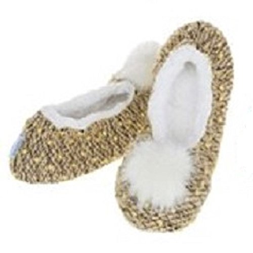 womens-ladies-adult-snoozies-nobby-knit-design-ballet-slippers-assorted