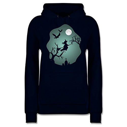 Shirtracer Halloween - Hexe Mond Grusel Grün - S - Navy Blau - JH001F - Damen Hoodie (Namen Halloween Lustige Grabsteine)
