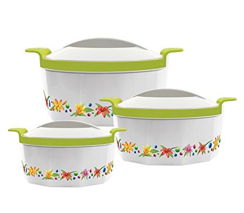 Fionna, 3 pentole per Hot Pot con funzione di mantenimento calore, 1L, 1,5L e 2,5L, verde, rosa, blu, arancione Green