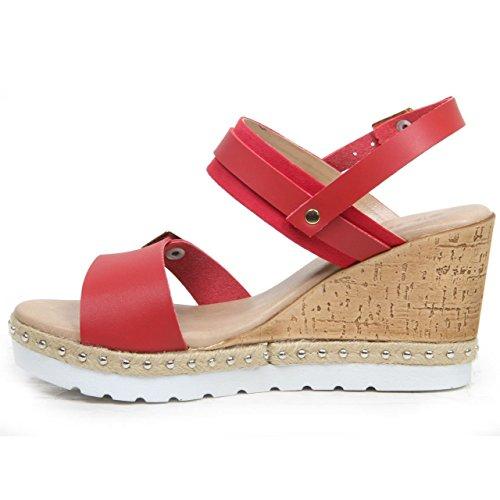 Femmes Semelle Compensée Boucle Up Faux Cuir Sandales Bout Ouvert Chaussure Été Rouge