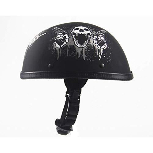 Kuan-helmet Personalisierter Harley-Helm, Sommer-Motorradhelm, Retro-Prinz Harley-Halbhelm, Erwachsener-Reithelm, passend für Kopfumfang (55-60cm),A