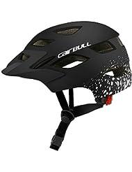 Amyove Casco de protección para niños Casco de montaña Bicicleta de Carretera Rueda de Equilibrio Scooter de Seguridad con luz Trasera Plata Negro Mate S-M (50-57CM)