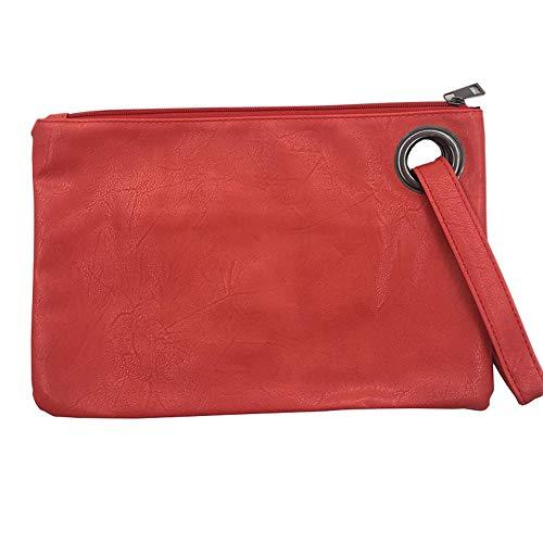 TTZZ Fashion Solid Handtasche Frauen Handtasche Leder Frauen Umschlag Tasche ReißverschlussAbendtascheWeibliche Kupplungen Handtasche Rot31 * 21 cm -