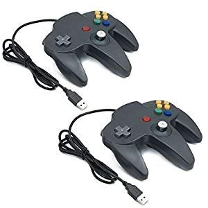 QUMOX 2x Nintendo N64 Classic Games GamePad Controller für USB zu PC/MAC Schwarz