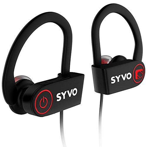 Syvo Flame Wireless Bluetooth Sports Earphones with Mic and Earhook, IPX7 Waterproof Deep Bass Headphones with Long Battery Life, Mobile Headset Best for Gym, Workout and Running + Carry Case (Black)