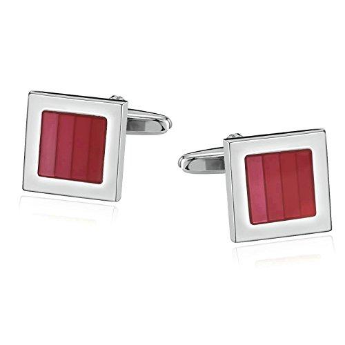 Daesar Schmuck 1 Paar Herren Edelstahl Manschettenknöpfe Emaille Streifen Quadrat Silber Rot Hochzeit Cufflinks
