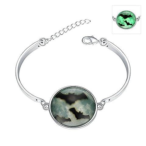 Daesar Damen Charm Armband Leuchtende Halloween / Weihnachten Geschenk Silber Farbe Fledermaus Armreif Armbänder 15cm (+5cm Verlängerung)