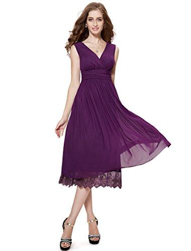 Ever Pretty Robe de cocktail au genou de style Empire et en double V-col 0279B Violet fonc¨¦