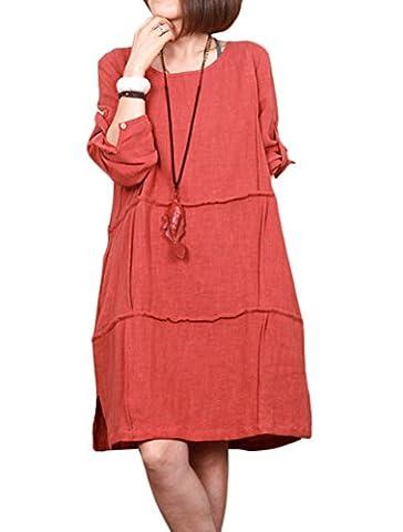 Voguees Women's Linen Dress Summer Clothing Orange