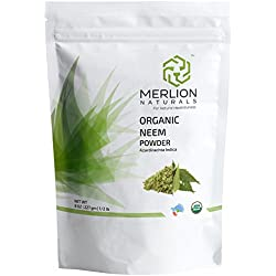 Organic Neem Leaves Powder (Azardirachta Indica) by MERLION NATURALS - 227 gm - 100% Organic Certified by USDA NOP Organic