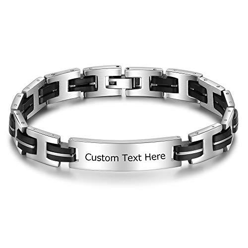 Imagen de damei pulsera para hombre brazalete de acero inoxidable y silicona regalo de san valentín grabado nombre personalizada de identificación joyería mujeres forma h