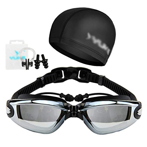 Kairuun 4 Stück Wasserdicht Anti Nebel Korrekturbrillen (100-800 °) + Schwimmkappe aus Polycarbonat + Ohrstöpsel + Nasenklammer Männer und Frauen