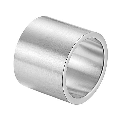 PAURO Herren Edelstahl Rohr Schneiden Breiten Hochzeitsband Flat Top Ring Silber Gebürstet Finish Größe 68