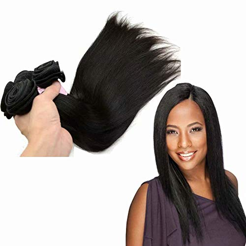 Queengirl Peruanisches Haar, glatt, 3 Bündel mit Verschluss, 100% Raw Virgin Rüstung, 4 x 4, Top Spitze, Verschlüsse, Farbe Natur - Virgin Kunststoff Natur