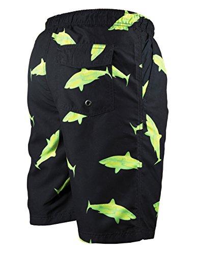 iPretty Herren Sommer Strand Shorts Badeshorts Badehose Boardshorts mit Muster Schwarz ohne innennetz