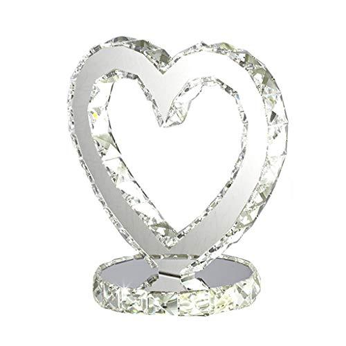 HUANGDA HUANGA lampe en cristal en forme de coeur créative, lampe de chevet réglable à LED moderne, lampes de style européen de décoration de salon de salle de séjour, 25 * 20cm-18W