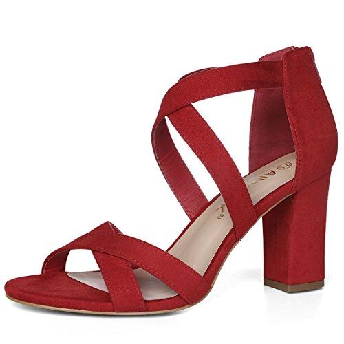 Allegra K Sandalias De Tacón Cruzado Sin Cordones para Mujer - Rojo/US 9.5, EU 39