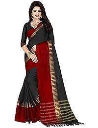 Sarees (Zypara Women's Black Cotton Silk Maheshwari Sarees With Blouse Piece (BLACKRED_41001))