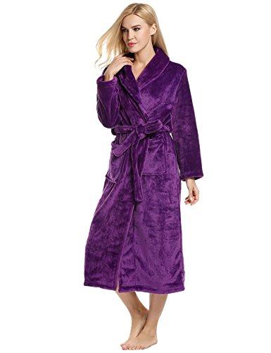 ADOME Damen Badenmantel warm Morgenmantel aus weiches coral Fleece Nachtwäsche Saunamantel mit Taschen für Herbst Winter in mehren Farben Größen Violett