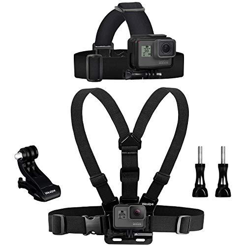 Wealpe Chest Mount Harness Kopfband Kopfgürtel Kopfbandhalterung für GoPro Hero (2018), Fusion, 7, 6, 5, 4, Sitzung, 3+, 3, 2, 1, Xiaomi Yi