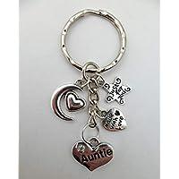 LOVE HEART KEYRING Auntie Gem Charm Pendant