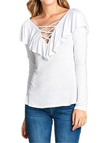 AILIENT T-Shirt Donna Camicetta Maglietta T-Shirt Maglia Blusa Manica Lunga Moda Tops Sexy Ufficio Collo V Casual White