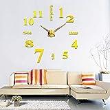 Alicemall 3D DIY Pendule Murale Sticker Horloge Murale Noire Montre Murale Salon Chambre Bureau (Horloge Noir)