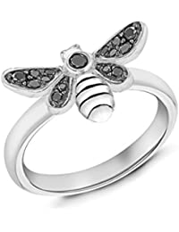 Tuscany Silver Rhodium Plated Oxid Black Crystals Bee Ring A1Gge9E