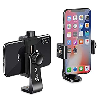 Zeadio Universal Smartphone Tripod Adapter, Cell Phone Holder Mount Adapter, Selfie Stick Monopod Adjustable Clamp, Vertical and Horizontal Swivel Bracket, Fits iPhone, Samsung, and all Phones