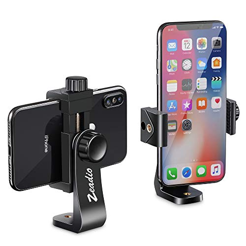 Zeadio Universal Smartphone Stativ Adapter, Handy-Halterung, Selfie Stick, Einbeinstativ, verstellbare Klemme, vertikale und horizontale Schwenkhalterung, passend für iPhone, Samsung und alle Handys