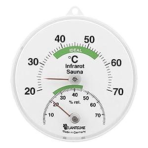 Lantelme Sauna Kombi Thermometer Hygrometer Infrarotkabine Bimetall Saunathermometer Luftfeuchte Analog 5005