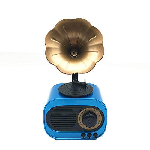 ZYAM Retro Bluetooth Lautsprecher Subwoofer Kreative Retro Radio Wireless-Karte Kleine Audio Imitation Antique Phonograph-Blue (Auto Radio Antique)
