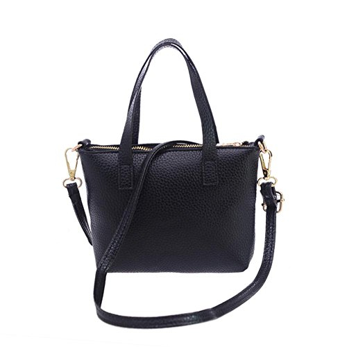 Transer Women Shoulder Bag Popular Girls Hand Bag Ladies Leather Handbag, Borsa a spalla donna Black 20cm(L)*15(H)*4cm(W) Black
