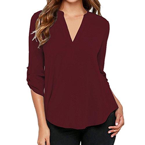 SUNNOW Femme Sexy Chemise Col V Manches Longue Tunique Mousseline T-Shirt Top Blouse Rouge vin