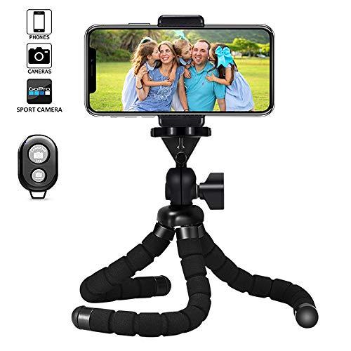 VIUME Móvil Trípode, Flexible Tripode Smartphone Rotación 360° con Control Remoto Bluetooth, Tripode Pulpo Tripode Movil Mini Tripode Portátil para iPhone, Android, Cámaras(Negro)