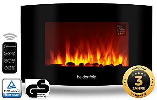 Heidenfeld Wandkamin Elektrisch HF-WK100 mit Fernbedienung - 1000 oder 2000 Watt - Flammensimulation - Heizthermostat - Kaminofen Elektrokamin Kaminfeuer Dekokamin (WK100A Curved Steinoptik)