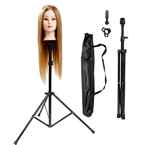 xnicx Stainless Steel Adjustable Tripod Stand Head Stand For Hairdressing Training Head Mannequin Head With Carry Bag