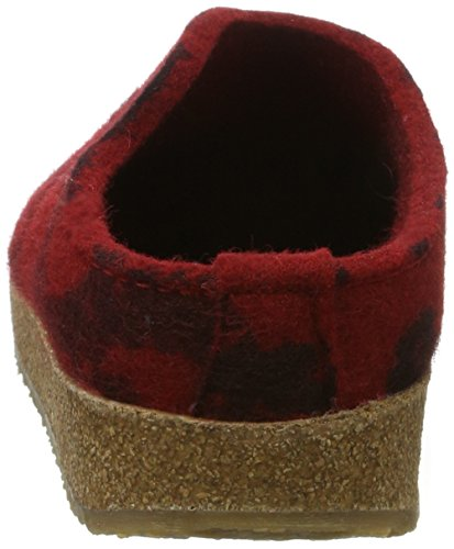 Haflinger Unisex-Erwachsene Grizzly Onda Hausschuhe Rot (Rubin)