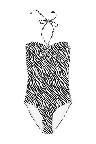 next Damen Bandeau Badeanzug Tierdruck EU 44 (UK 16) - Getrimmt Rock Anzug