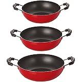 Nirlon Non-Stick Aluminium Cookware Set, 3-Pieces, Red (2.6mm_KD10_KD11_KD12)