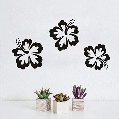 HESHU Wandaufkleber Hibiskus Blume Papier Wohnzimmer Wanddekoration Vinyl Abnehmbare Wandkunst Aufkleber Kinderzimmer Dekoration - Papier Hibiskus-blumen
