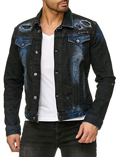 Redbridge Herren Denim Jeans Jacken Patches Biker Übergangsjacke Destroyed Casual Jeansjacken