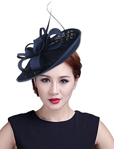 fascinator dunkelblau EOZY Damen Mini Hut Fascinator Hut Haarschmuck Hut Dunkelblau