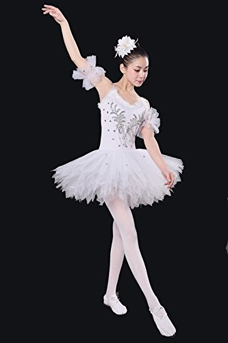 Ballett Swan Kleid Garn Puffy Blase Tutu Rock Silk Cotton Exercise Bekleidung Rock (L)