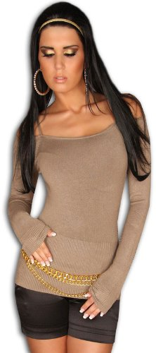 In Style Damen Pullover langärmelig mit weitem Ausschnitt und Schulterbändchen Einheitsgröße (32-38) Cappuccino