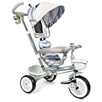 boppi 4 in 1 Push Stroller and Ride On Trike with reversible front and rear facing seat for Toddlers and Kids - Unisex Grey Wave