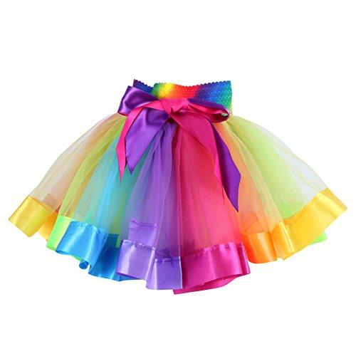 ESHOO Mädchen Rock Regenbogen Tüll Tütü Tanzrock Tanz Kleid Kostüm mit (Tanz Kostüme Und Kleider)