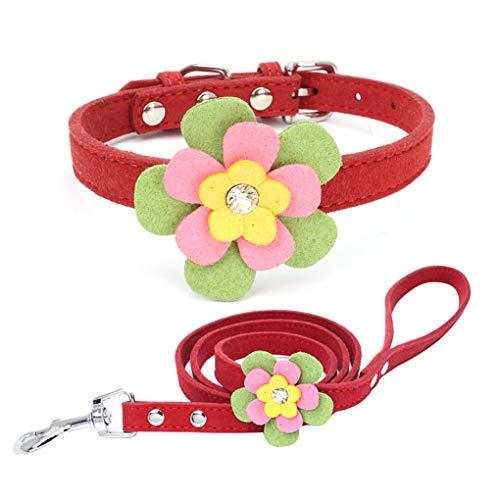 Censhaorme Mode Strass Einstellbare Haustier-Kragen-Bunte Blumen-Legierung Schnalle Kragen Anti-verloren Pet Supplies -
